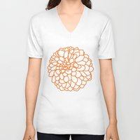 dahlia V-neck T-shirts featuring Dahlia by AleDan