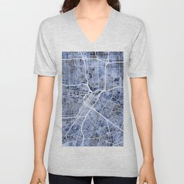 Houston Texas City Street Map Unisex V-Neck