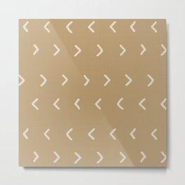 Mud Cloth Arrowheads // Tan Metal Print