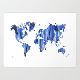 Watercolor World Map (cyan/black/navy) Art Print
