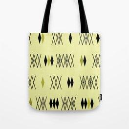 Retro Atomic Era Diamonds Pattern Chartreuse Tote Bag