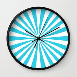 Turquoise Blue Rays Wall Clock