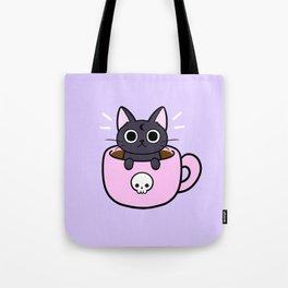Pastel Coffee Cat Tote Bag