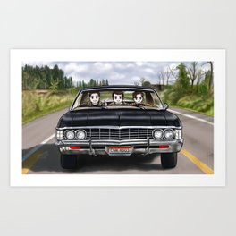 Dean and Cas teaching Jack to drive Baby Art Print