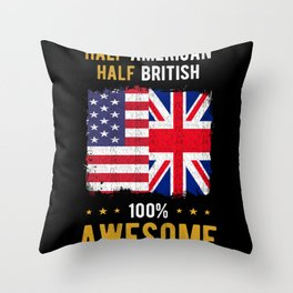 American England Flag Throw Pillow