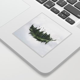 Earth Feather • Green Feather (horizontal) Sticker
