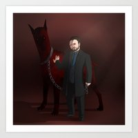 crowley Art Prints featuring Crowley by Jennilah