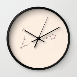 Pisces Zodiac Constellation Neutral Rose Wall Clock