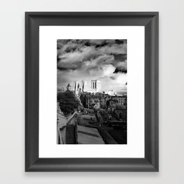 York Minster and walls in the sun Framed Art Print