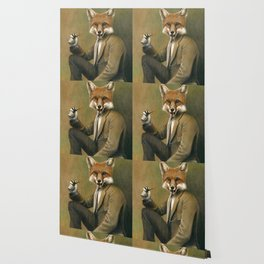 Vintage Fox In Suit Wallpaper