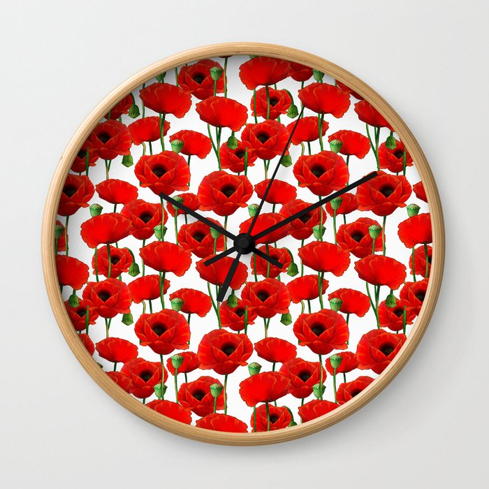 Red Poppy Pattern Wall Clock