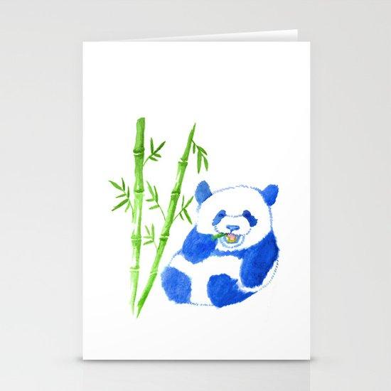 Panda eating bamboo Watercolor Print Stationery Cards