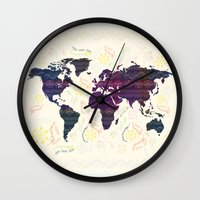 map Wall Clocks featuring Map by famenxt