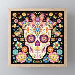 Sugar Skull Art - Sugar Skull with Butterflies and Flowers by Thaneeya McArdle Framed Mini Art Print
