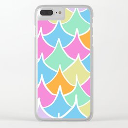 Preppy Waves Pattern Fishscale Pastel Rainbow Clear iPhone Case