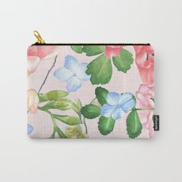 Watercolor Floral Collage in Blush Carry-All Pouch