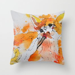 Red fox and fox cub Throw Pillow