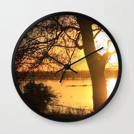 Floodplain at Sunset 2 Wall Clock