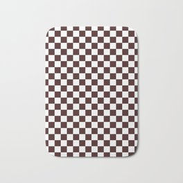 Small Checkered - White and Dark Sienna Brown Bath Mat