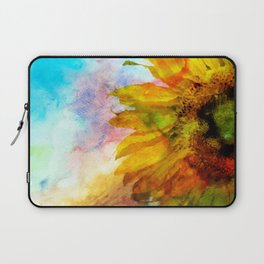 Sunflower on colorful watercolor background - Flowers Laptop Sleeve