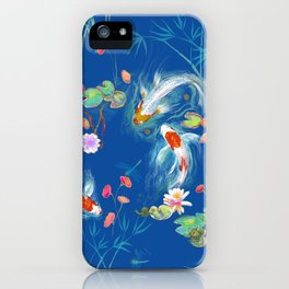 Blue Japanese Water Garden iPhone Case