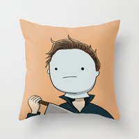 michael myers Throw Pillows featuring Adventure Time with Michael Myers by Tinsel Pencil