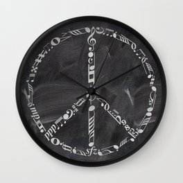 Music peace on chalkboard Wall Clock