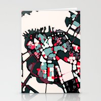 boston map Stationery Cards featuring Abstract Map- Boston Harbor by Carland Cartography