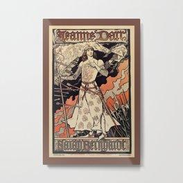 Sarah Bernhardt as Joan of Arc vintage theatre ad Metal Print