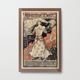 Sarah Bernhardt as Joan of Arc vintage theatre ad Metal Print