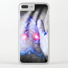 Woman's hands controlling atomic power Clear iPhone Case