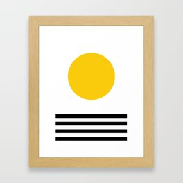 Midcentury Yellow Minimalist Sunset With Black Stripes Framed Art Print