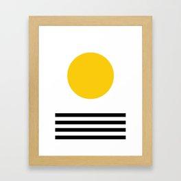 Midcentury Yellow Minimalist Sunset With Black Stripes Framed Art Print