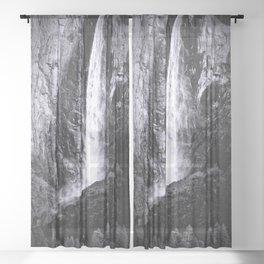 Bridalveil Falls. Yosemite California in Black and White Sheer Curtain