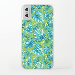Bright Tropical Leaves Clear iPhone Case