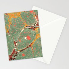 Marbled Green Orange 2 Stationery Cards
