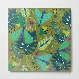 Bugs in tropical forest pattern design Metal Print