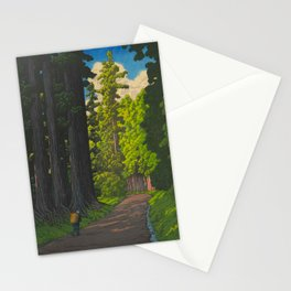 Vintage Japanese Woodblock Print Kawase Hasui Mystical Japanese forest Tall Green Trees Stationery Cards