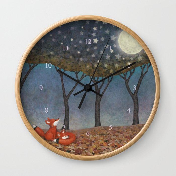 sleepy foxes Wall Clock