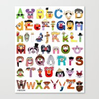 sesame street Canvas Prints featuring Sesame Street Alphabet by Mike Boon