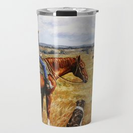 Young Cowgirl on Cattle Horse Travel Mug