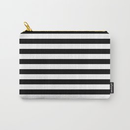 Black and White Horizontal Strips Carry-All Pouch