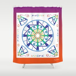 Imagine from the Inside - White/Orange Pink Shower Curtain