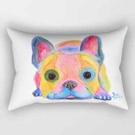 Nosey Dog French Bulldog ' AM I FRENCH ? ' by Shirley MacArthur Rectangular Pillow
