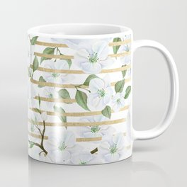 Elegant white faux gold stripes watercolor hand painted floral Coffee Mug