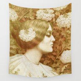 Autumn Woman, art nouveau drawing Paul Berthon 1900 Wall Tapestry