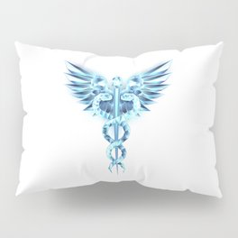 Blue Caduceus Symbol Pillow Sham