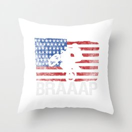 Awesome American Flag Motocross Gift Cool Dirt Bike Brap Design Throw Pillow