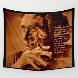 Charles Bukowski - quote - sepia Wall Tapestry