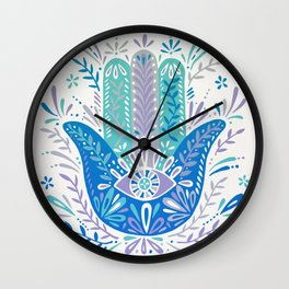 Hamsa Hand – Blue & Turquoise Palette Wall Clock